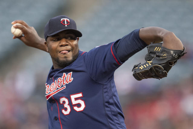 Minnesota Twins starting pitcher Michael Pineda delivers a pitch during the first inning of a baseball game against the Los Angeles Angels in Anaheim, Calif., Tuesday, May 21, 2019. (AP Photo/Kyusung Gong)