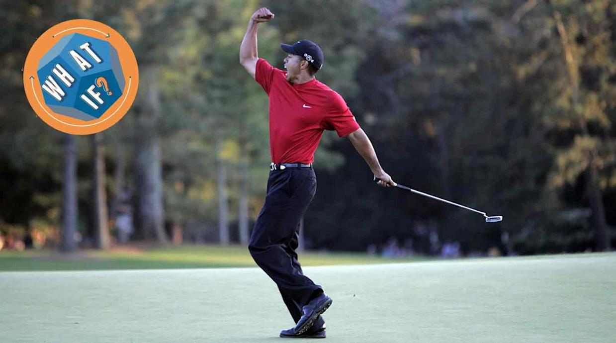 Tiger Woods celebrates after winning a playoff over Chris DiMarco during the 2005 Masters at Augusta National.