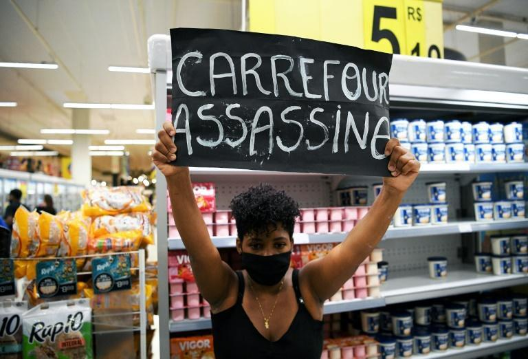 Protests like this one at a Carrefour store in Rio de Janeiro were held for days across Brazil after store security guards in Port Alegre beat a Black man to death