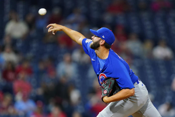 Chicago Cubs' Tommy Nance pitches during the sixth inning of a baseball game against the Philadelphia Phillies, Thursday, Sept. 16, 2021, in Philadelphia. (AP Photo/Matt Slocum)