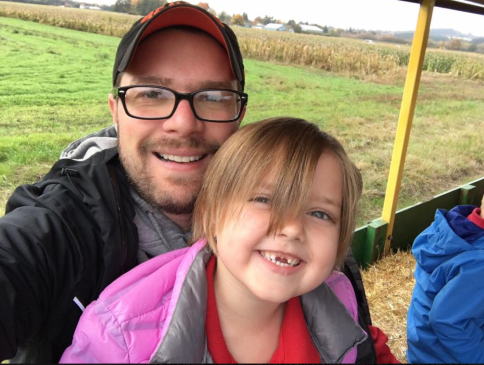 Writer Clint Edwards and his 5-year-old daughter, Aspen on a visit to the pumpkin patch. (Photo: Clint Edwards)