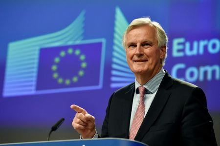 EU Chief Negotiator for Brexit Barnier speaks during a news conference in Brussels