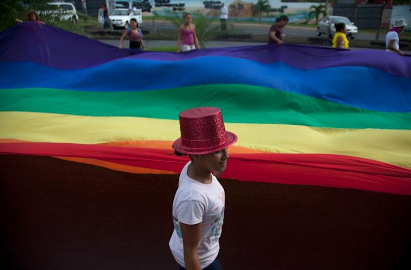 Gay activists march in Managua against homophobia and demanding a new family code legalizing the union of persons of the same sex, on June 28, 2012