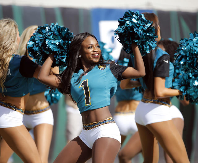 <p>Jacksonville Jaguars cheerleaders perform during the first half of an NFL football game against the Cincinnati Bengals, Sunday, Nov. 5, 2017, in Jacksonville, Fla. (AP Photo/Stephen B. Morton) </p>