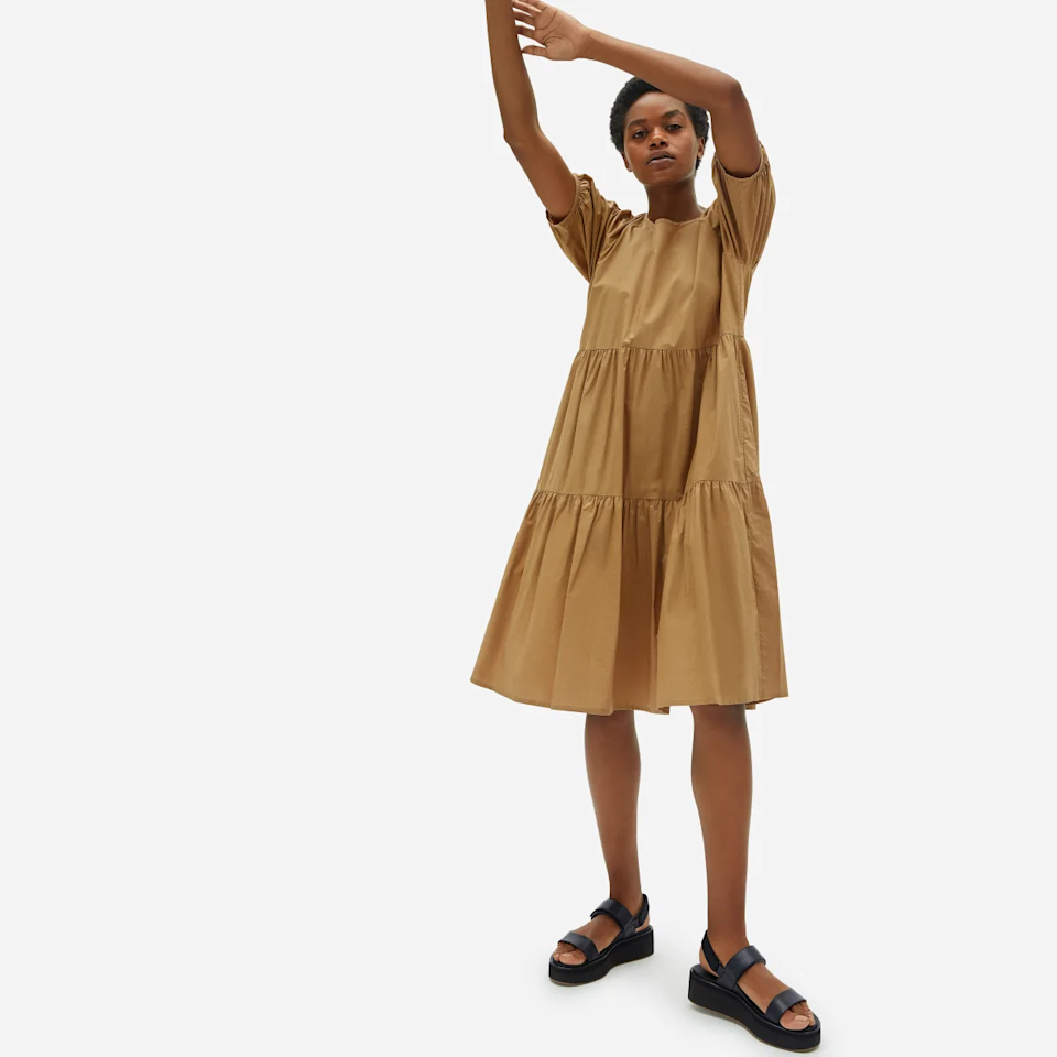 "<br> <br> <strong>Everlane</strong> The Tiered Cotton Dress, $, available at <a href=""https://go.skimresources.com/?id=30283X879131&url=https%3A%2F%2Fwww.everlane.com%2Fproducts%2Fwomens-mood-maker-dress-hazel%3Fcollection%3Dwomens-dresses"" rel=""nofollow noopener"" target=""_blank"" data-ylk=""slk:Everlane"" class=""link rapid-noclick-resp"">Everlane</a>"