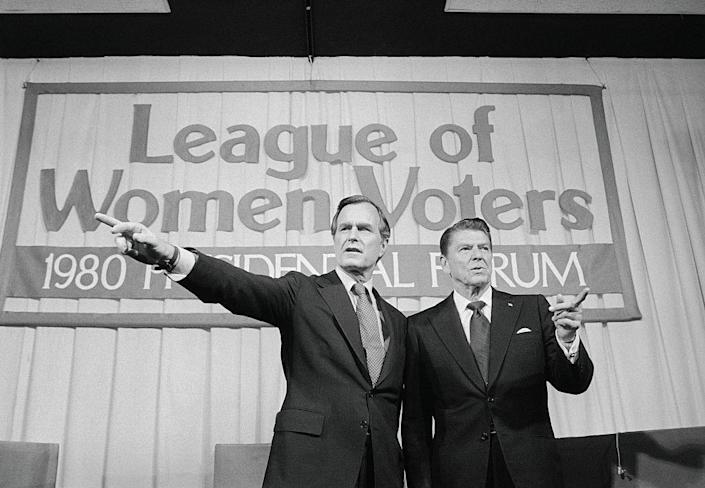 George Bush and Ronald Reagan Pointing