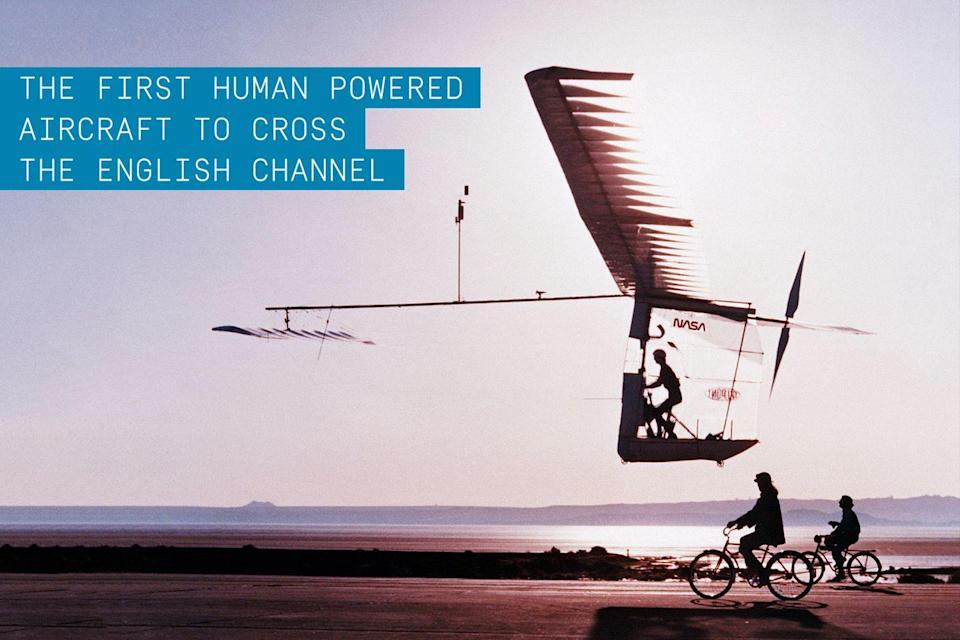 """<p>Designed by American aeronautical engineer Paul B. MacCready and flown by amateur cyclist and pilot Bryan Allen, this human-powered aircraft won the second Kremer prize when it was successfully flown across the English Channel on June 12, 1979. Allen completed the 22.2-mile crossing in 2 hours and 49 minutes, reaching a top speed of 18 mph at an average altitude of 5 ft above the water. </p><p><strong>✈ <a href=""""https://www.popularmechanics.com/flight/how-to/a10096/the-improbable-pedal-powered-flying-machines-16441824/"""" rel=""""nofollow noopener"""" target=""""_blank"""" data-ylk=""""slk:The Improbable Pedal-Powered Flying Machines"""" class=""""link rapid-noclick-resp"""">The Improbable Pedal-Powered Flying Machines</a></strong></p><p>The aircraft was constructed using a carbon fiber frame with long tapered wings wrapped in a thin plastic mylar. The Albatross weighed in at a mere 71 lbs. Similar design elements can be seen today on <a href=""""https://www.popularmechanics.com/flight/a15429/solar-impulse-2-first-pacific-flight/"""" rel=""""nofollow noopener"""" target=""""_blank"""" data-ylk=""""slk:Solar Impulse"""" class=""""link rapid-noclick-resp"""">Solar Impulse</a>, a super-lightweight solar-powered electric aircraft attempting to fly around the globe.</p>"""