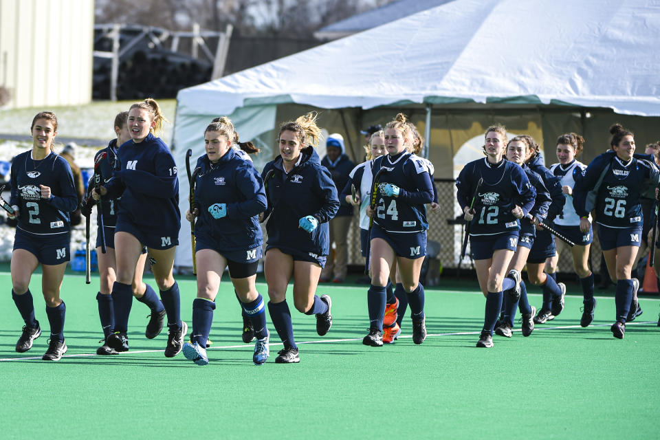 MANHEIM, PA - NOVEMBER 24: Middlebury takes the field during the Division III Women's Field Hockey Championship held at Spooky Nook Sports on November 24, 2019 in Manheim, Pennsylvania. Middlebury defeated Franklin & Marshall 1-0 to win the championship. (Photo by Craig Chase/NCAA Photos via Getty Images)