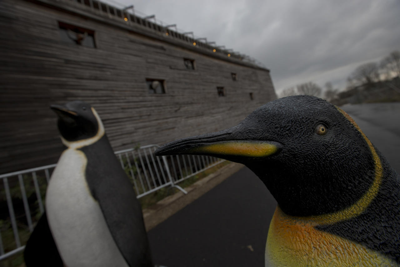 Life-size replica's of penguins are seen outside a full scale replica of Noahís Ark which has opened its doors in Doredrecth, Netherlands, Monday Dec. 10, 2012, after receiving permission to host up to 3,000 visitors per day. (AP Photo/Peter Dejong)