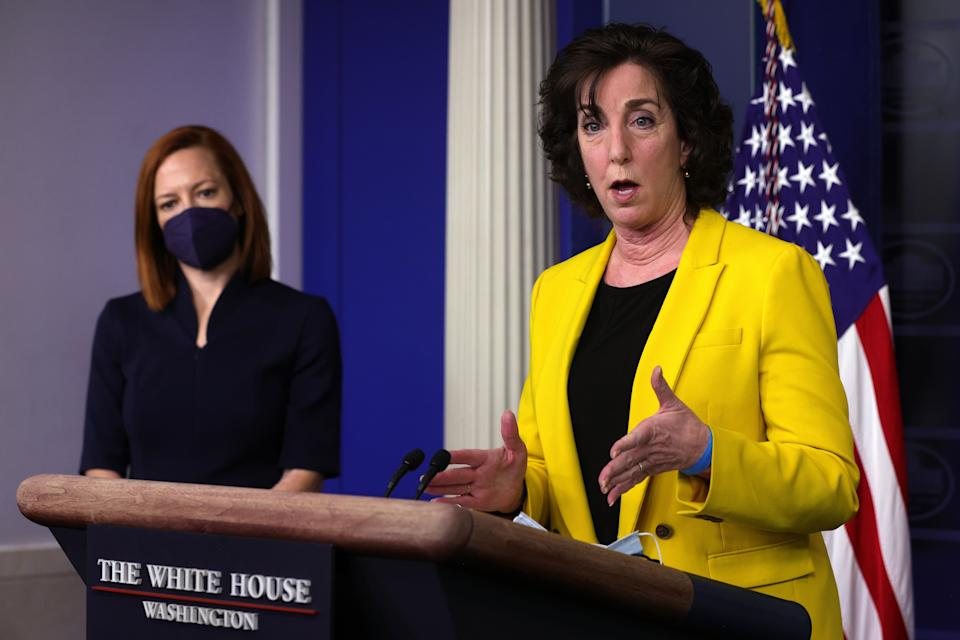 Special Assistant to the President & Coordinator for the Southern Border Ambassador Roberta Jacobson speaks as White House Press Secretary Jen Psaki listens during a daily press briefing at the James Brady Press Briefing Room of the White House March 10, 2021 in Washington, DC. (Alex Wong/Getty Images)