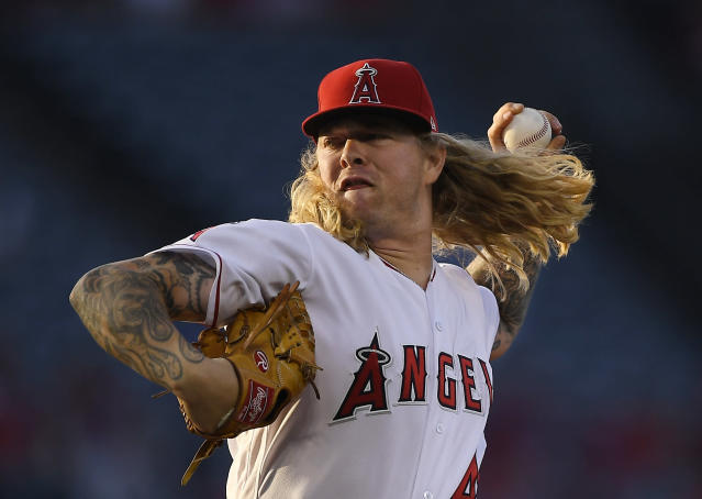 Los Angeles Angels starting pitcher John Lamb throws during the first inning of the team's baseball game against the Toronto Blue Jays on Thursday, June 21, 2018, in Anaheim, Calif. (AP Photo/Mark J. Terrill)