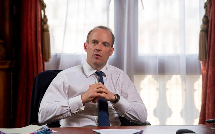 Dominic Raab photographed in his office in the Foreign Office - Geoff Pugh