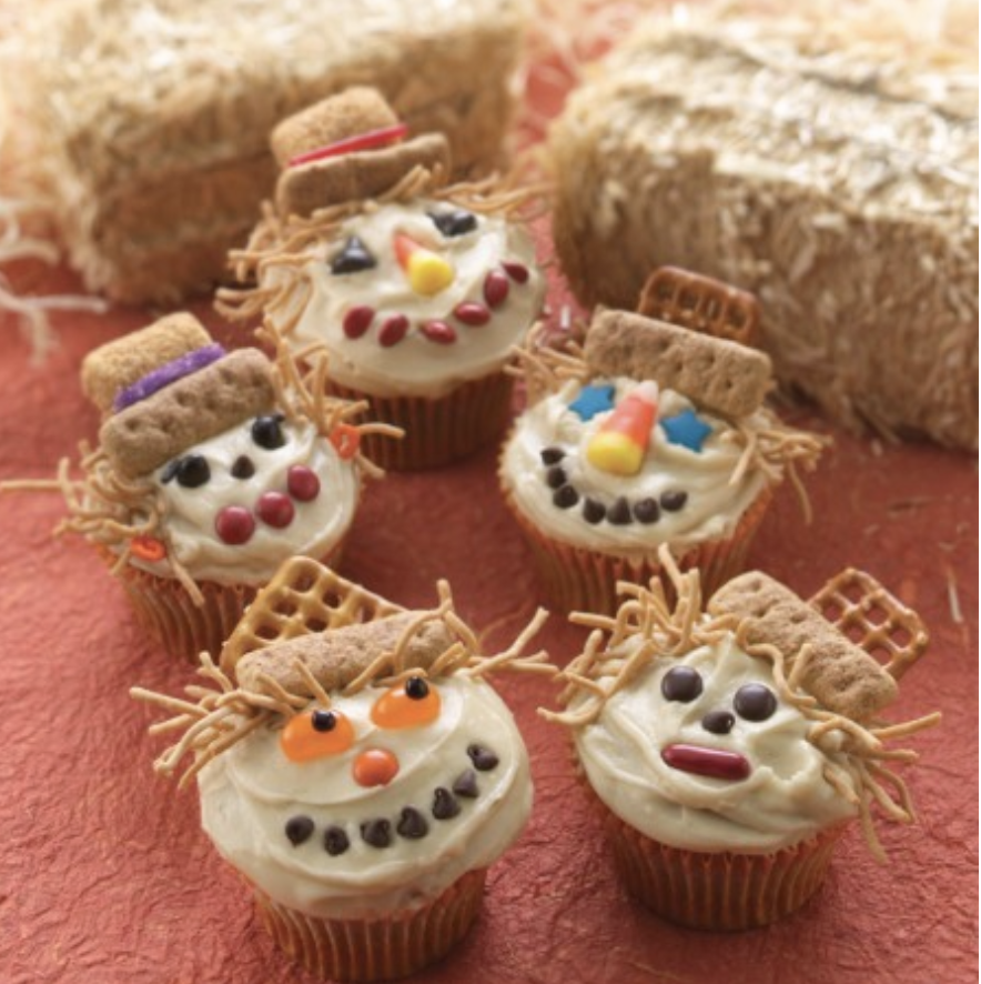 "<p><a href=""https://www.landolakes.com/expert-advice/smiling-scarecrow-cupcakes-they-re-a-craft-and-a"" rel=""nofollow noopener"" target=""_blank"" data-ylk=""slk:Land O' Lakes"" class=""link rapid-noclick-resp"">Land O' Lakes</a> showed how to make these scarecrow cupcakes on their site and suggest stocking up cupcake mix, jelly beans, chocolate chips, pretzels, graham sticks, and a little imagination.</p><p><a class=""link rapid-noclick-resp"" href=""https://www.amazon.com/Standard-White-Cupcake-Baking-Liners/dp/B01LYI5NGJ/?tag=syn-yahoo-20&ascsubtag=%5Bartid%7C1782.g.33808794%5Bsrc%7Cyahoo-us"" rel=""nofollow noopener"" target=""_blank"" data-ylk=""slk:BUY NOW"">BUY NOW</a> <em><strong>Cupcake baking liners, $7.44</strong></em></p>"