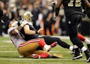 Nov 9, 2014; New Orleans, LA, USA; San Francisco 49ers outside linebacker Ahmad Brooks (55) sacks New Orleans Saints quarterback Drew Brees (9) in overtime at Mercedes-Benz Superdome. The 49ers won 27-24. Mandatory Credit: Chuck Cook-USA TODAY Sports