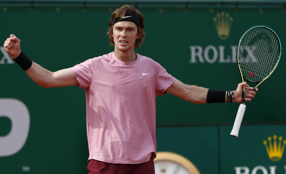 Andrey Rublev of Russia reacts after winning a point to Casper Ruud of Norway during their semifinal match of the Monte Carlo Tennis Masters tournament in Monaco, Saturday, April 17, 2021. (AP Photo/Jean-Francois Badias)
