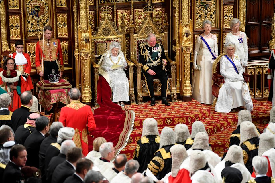 Britain's Queen Elizabeth delivers the Queen's Speech during the State Opening of Parliament in London, Britain October 14, 2019. REUTERS/Toby Melville/Pool