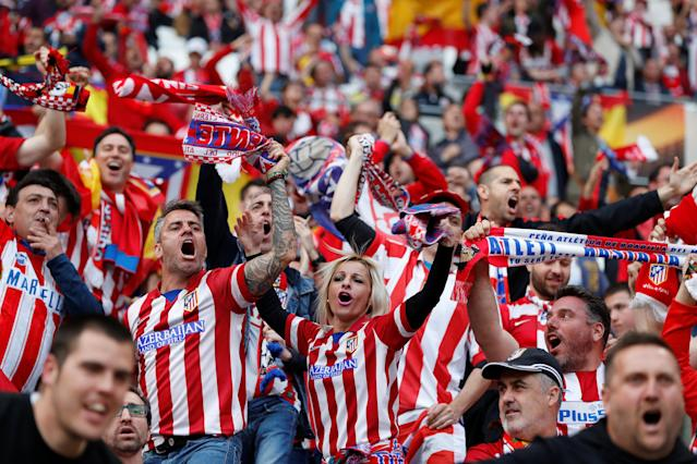 Soccer Football - Europa League Final - Olympique de Marseille vs Atletico Madrid - Groupama Stadium, Lyon, France - May 16, 2018 Atletico Madrid fans before the match REUTERS/Gonzalo Fuentes
