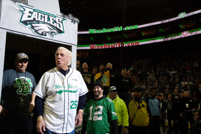 Richard Morgan Fliehr greats fans as he makes a surprise appearance during Wing Bowl 26, at the Wells Fargo Center in Philadelphia, PA, on February 2, 2018. The annual chicken wing eating contest is set two days before Super Bowl 52, where the Philadelphia Eagles will take on the New England Patriots. (Photo by Bastiaan Slabbers/NurPhoto)