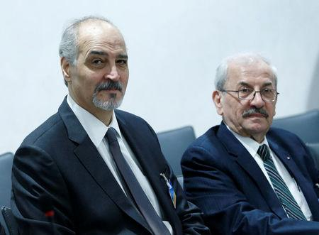 Bashar al-Jaafari (L), Syrian chief negotiator and Ambassador of the Permanent Representative Mission of Syria to the UN in New York, attends a meeting with UN Special Envoy of the Secretary-General for Syria Staffan de Mistura prior to a round of negotiations, during the Intra Syria talks, at the European headquarters of the United Nations in Geneva, Switzerland March 24, 2017. REUTERS/Denis Balibouse