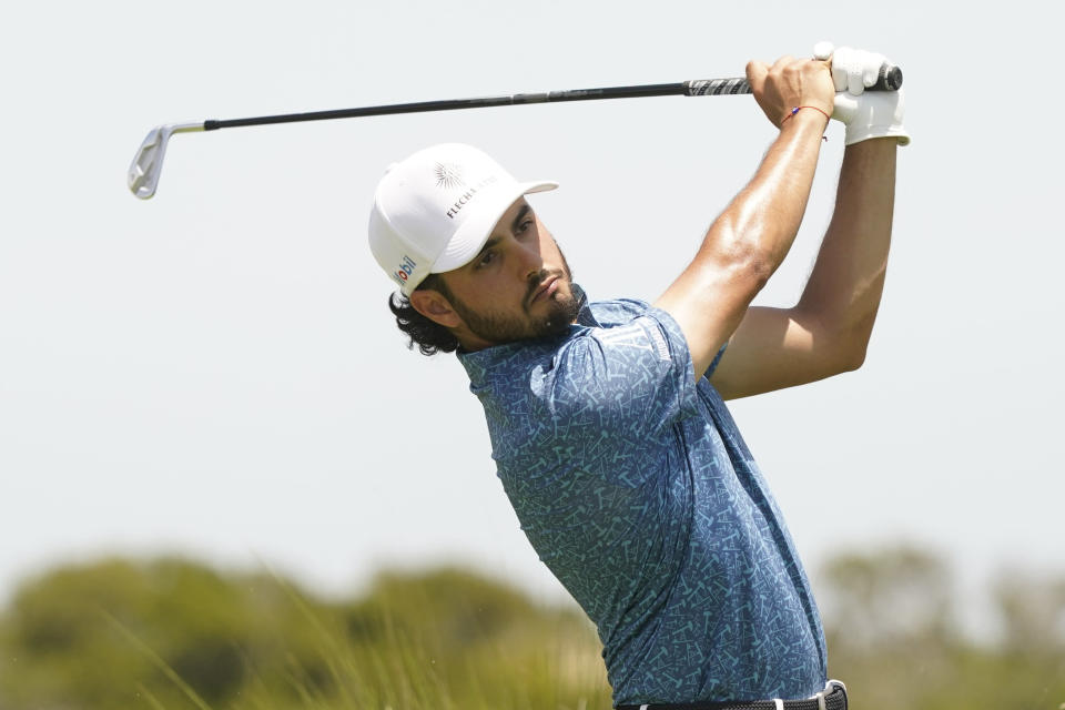 Abraham Ancer, of Mexico, hits on the fifth tee during the third round at the PGA Championship golf tournament on the Ocean Course, Saturday, May 22, 2021, in Kiawah Island, S.C. (AP Photo/Matt York)
