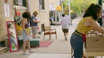<p>As Abbi prepares to leave New York City, she organizes a stoop sale so she can sell off a few pieces of furniture and personal items. It doesn't go exactly as planned, but such is life in <em>Broad City</em>: Abbi and Ilana chase a garbage truck and carry a couch on the subway, Abbi's weird kind-of roommate ends up with most of her stuff, shenanigans ensue, etc. But again, the idea itself is a good one!</p>