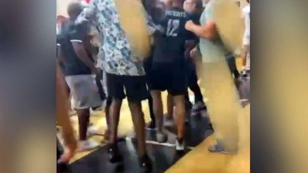 PHOTO: An image made from video shows tortillas that were thrown during a basketball game between Coronado High and the predominantly Hispanic Orange Glen High, in Coronado, Calif., on June 19, 2021. (Obtained by ABC News)