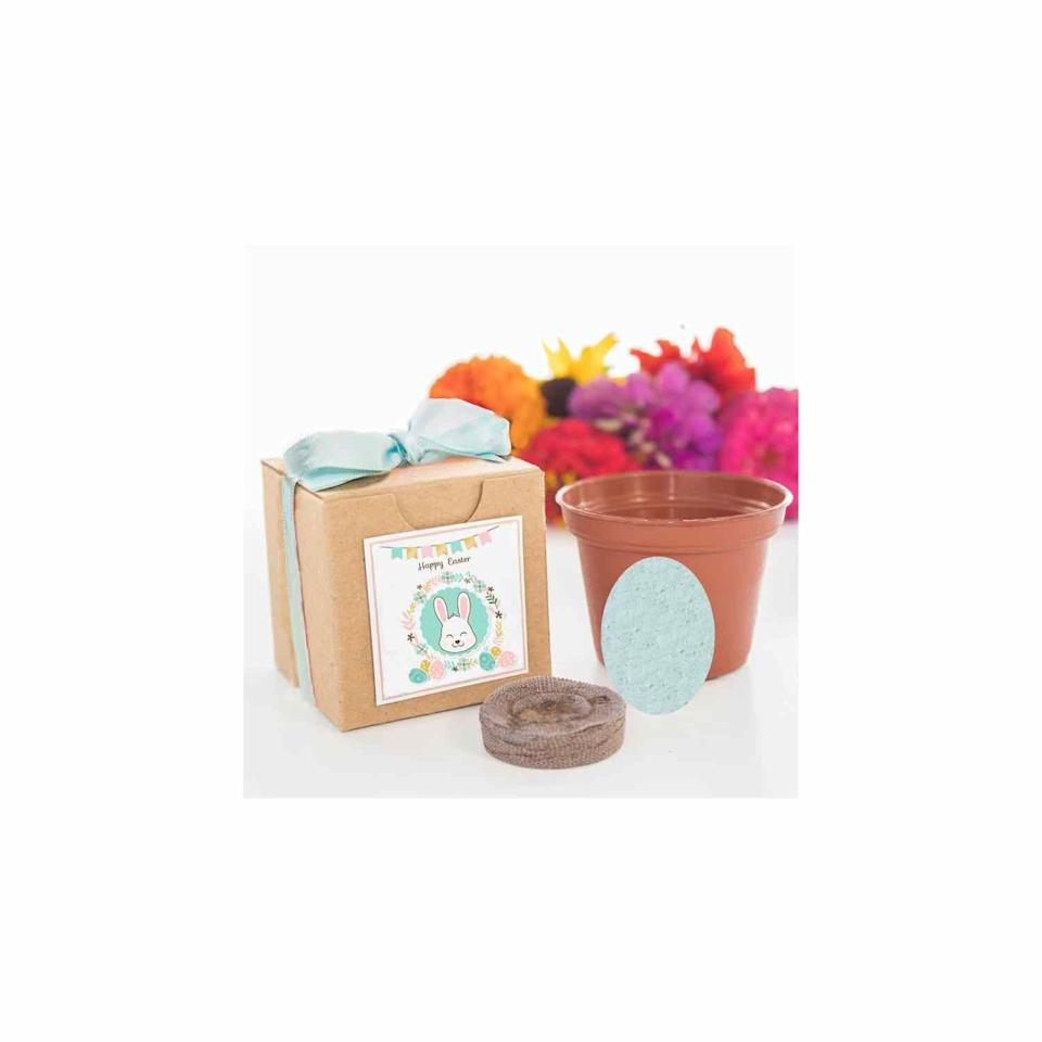 """<p><strong>NatureFavors</strong></p><p>etsy.com</p><p><strong>$8.95</strong></p><p><a href=""""https://go.redirectingat.com?id=74968X1596630&url=https%3A%2F%2Fwww.etsy.com%2Flisting%2F576452614%2Fseed-kit-easter-gifts-for-kids-adults&sref=https%3A%2F%2Fwww.oprahdaily.com%2Flife%2Fg35448928%2Feaster-basket-gifts%2F"""" rel=""""nofollow noopener"""" target=""""_blank"""" data-ylk=""""slk:SHOP NOW"""" class=""""link rapid-noclick-resp"""">SHOP NOW</a></p><p>This little kit is the perfect spring treat for any Easter basket, since it contains everything you need—soil, seeds, and a little pot—to grow colorful flowers. </p>"""