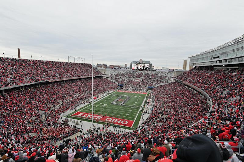 COLUMBUS, OH - NOVEMBER 9: A general view of Ohio Stadium before a game between the Maryland Terrapins and the Ohio State Buckeyes on November 9, 2019 in Columbus, Ohio. (Photo by Jamie Sabau/Getty Images) *** Local Caption ***