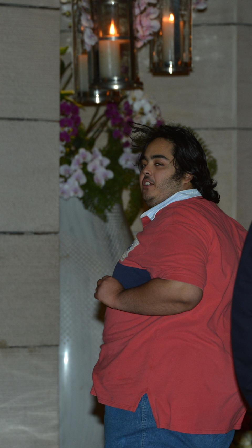 MUMBAI, INDIA ? JANUARY 05: Mukesh Ambani and Nita Ambani's son Anant at his cousin Nayantara's engagement party in Antilla in Mumbai on Saturday, January 5, 2013. (Photo by Bhaskar Paul/India Today Group/Getty Images)