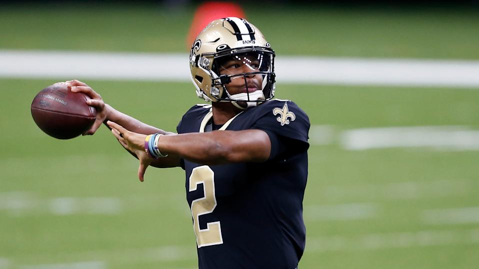 New Orleans Saints quarterback Jameis Winston (2) warms up before an NFL football game against the San Francisco 49ers in New Orleans, Sunday, Nov. 15, 2020. (AP Photo/Butch Dill)