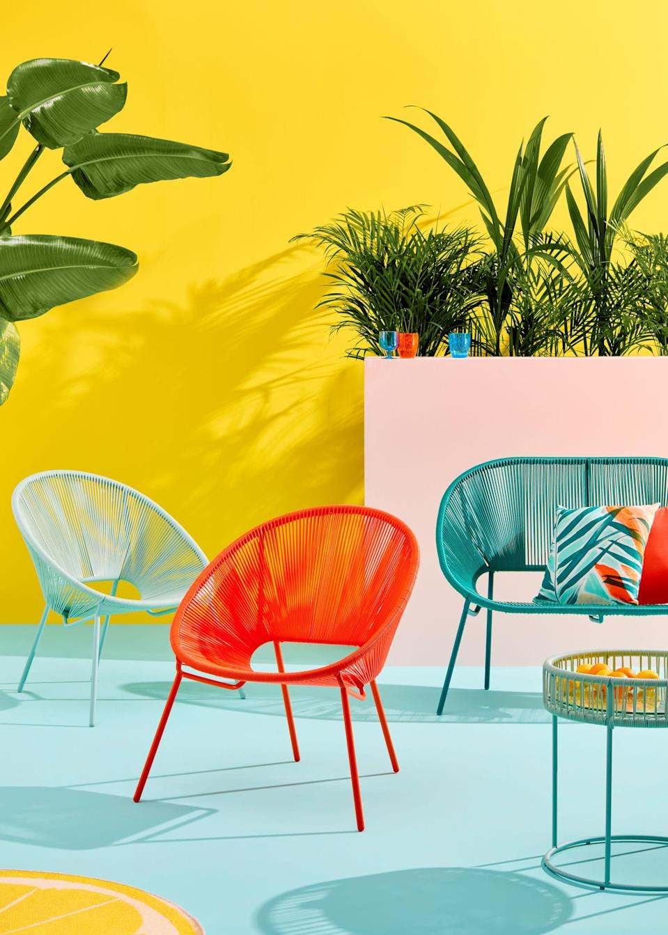 """<p>""""Applying muted tones like grey to your woven furniture is increasingly popular, adding an element of sophistication to your outdoor living area,"""" say the team at <a rel=""""nofollow noopener"""" href=""""https://www.johnlewis.com/"""" target=""""_blank"""" data-ylk=""""slk:John Lewis"""" class=""""link rapid-noclick-resp"""">John Lewis</a>. """"However, as well as the popularity of natural colours and finishes, more of us are becoming braver in our outdoor furniture choices – looking to inject pops of vibrant colour into our outdoor spaces using contemporary furniture designs and cutting-edge textile design.""""</p><p><strong><em>BUY NOW: <a rel=""""nofollow noopener"""" href=""""https://www.johnlewis.com/brand/house-by-john-lewis/outdoor/_/N-1z14045Z1z0qrok"""" target=""""_blank"""" data-ylk=""""slk:House by John Lewis collection, John Lewis"""" class=""""link rapid-noclick-resp"""">House by John Lewis collection, John Lewis</a></em></strong></p>"""