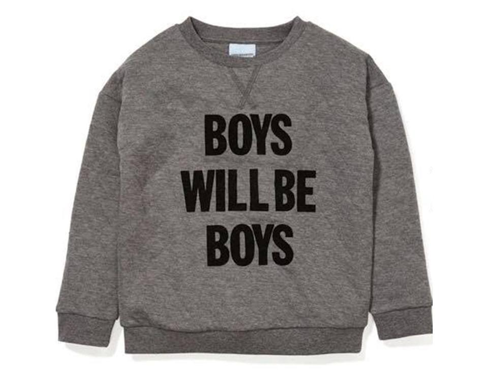 "Peter Alexander's ""boys will be boys"" sweatshirt was met with criticism. (Photo: Bridie Harris‎ via Facebook)"