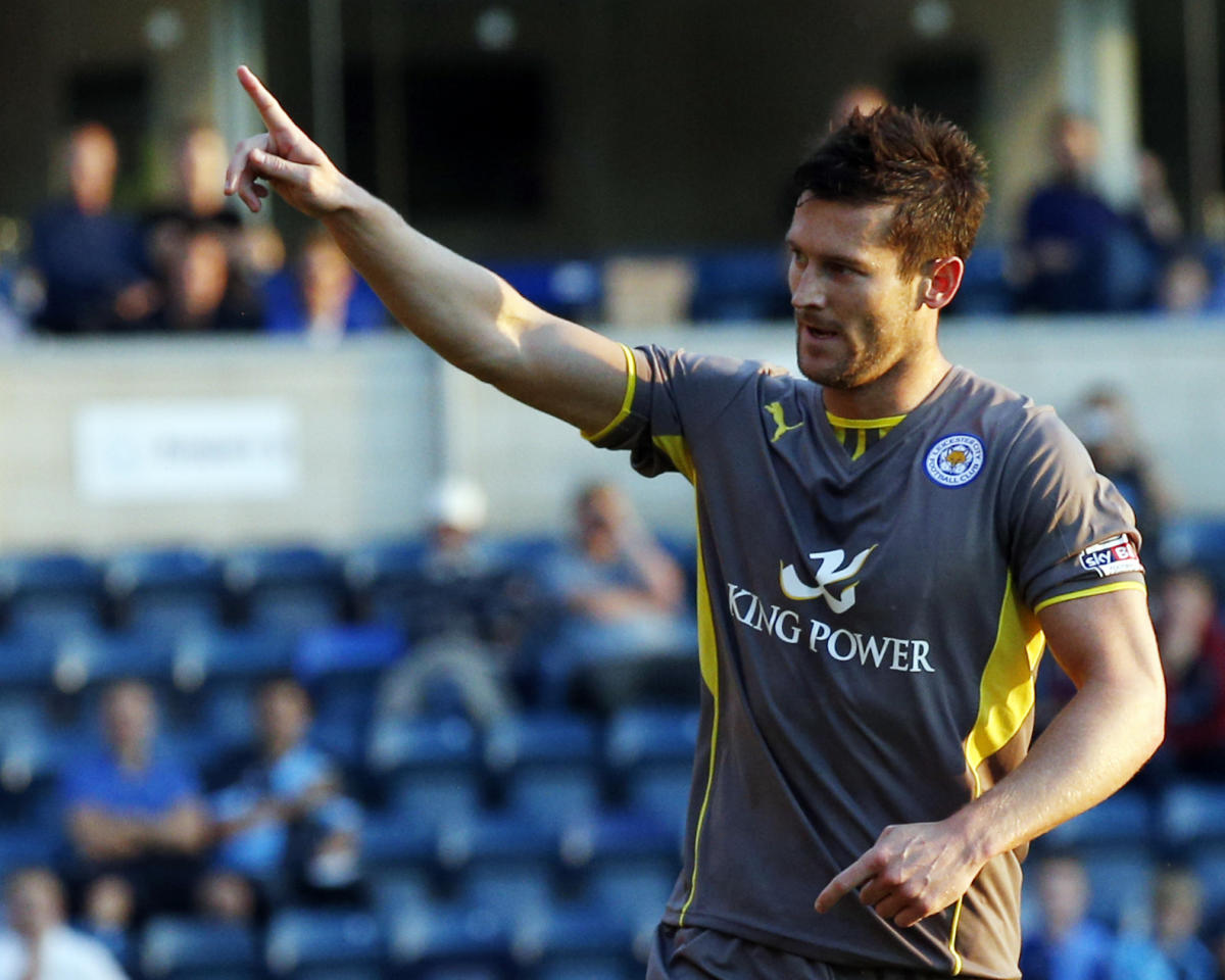 Leicester City's David Nugent celebrates scoring his side's opening goal from the penalty spot during the Capital One Cup, First Round match at Adams Park, Wycombe.