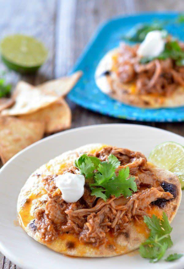 <strong>Get the <span>Slow Cooker Sweet Pork Tacos recipe</span>from Mountain Mama Cooks</strong>