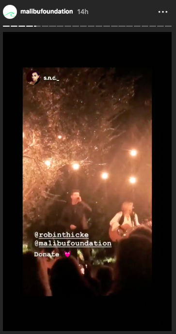 """Robin Thicke, whose house was turned to rubble, sang """"Stand by Me."""" (Image: Instagram)"""