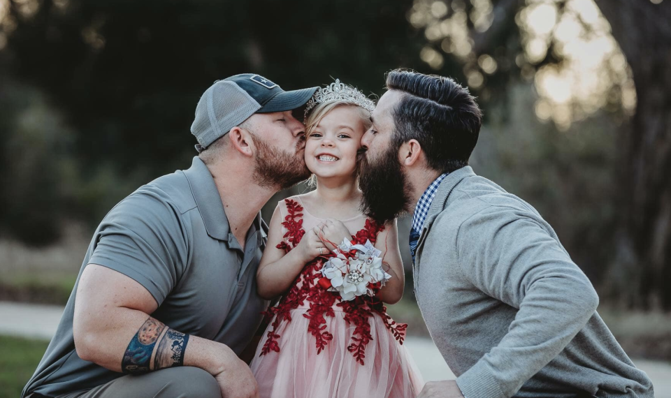Dylan Lenox, left, and David Lewis, right, have been co-parenting since Willow, now 5, was 18 months old. (Photo: Willie + Rose Photography)