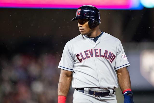 Yasiel Puig #66 of the Cleveland Indians. (Photo by Brace Hemmelgarn/Minnesota Twins/Getty Images)