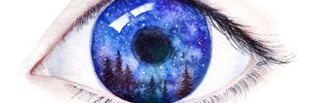 A watercolor painting of an eye, with forrest reflecting from the pupil