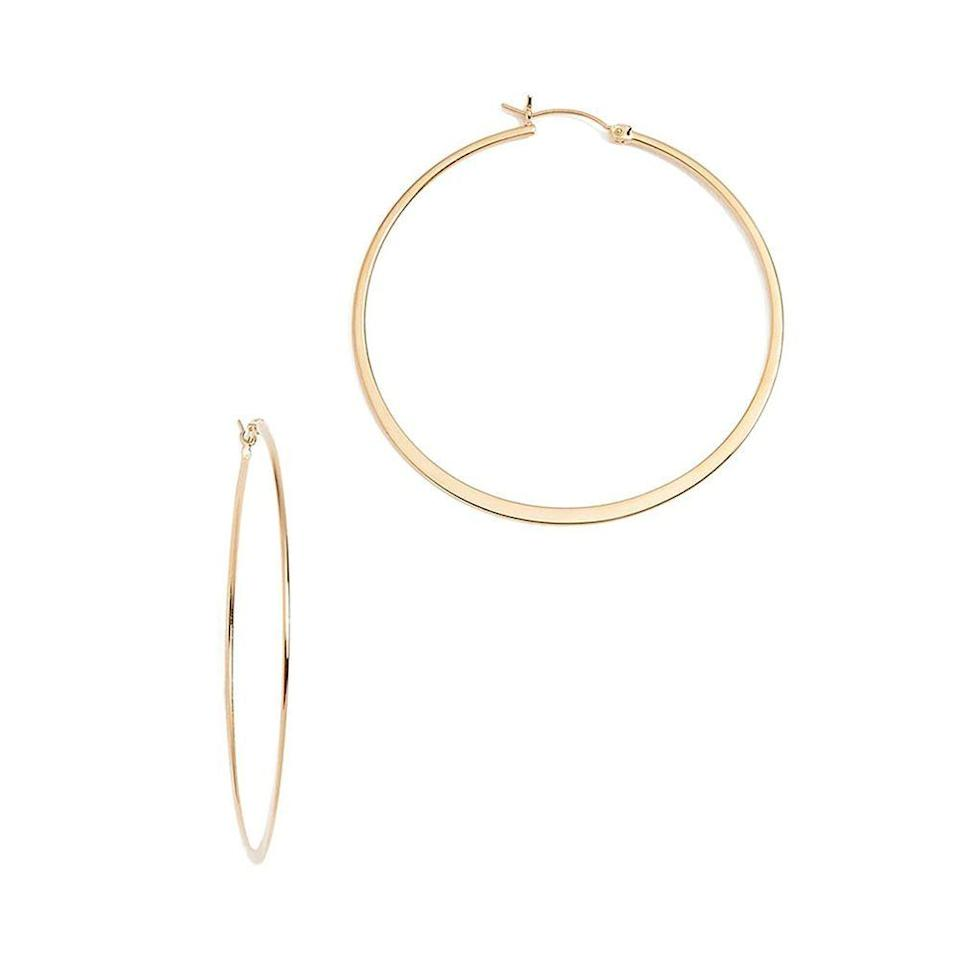 """<p><strong>Jennifer Zeuner Jewelry</strong></p><p>amazon.com</p><p><strong>145.00</strong></p><p><a href=""""https://www.amazon.com/dp/B07DGWXRD6?tag=syn-yahoo-20&ascsubtag=%5Bartid%7C10051.g.36317445%5Bsrc%7Cyahoo-us"""" rel=""""nofollow noopener"""" target=""""_blank"""" data-ylk=""""slk:Shop Now"""" class=""""link rapid-noclick-resp"""">Shop Now</a></p><p>Measuring 2.25 inches long, these gold vermeil statement hoops will go to work in subtly pulling together her outfits year-round. </p>"""