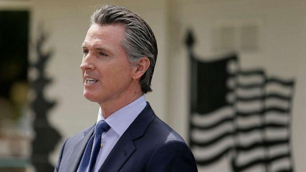 PHOTO: California Gov. Gavin Newsom speaks during a news conference at the Veterans Home of California, May 22, 2020, in Yountville, Calif. (Eric Risberg/AP)