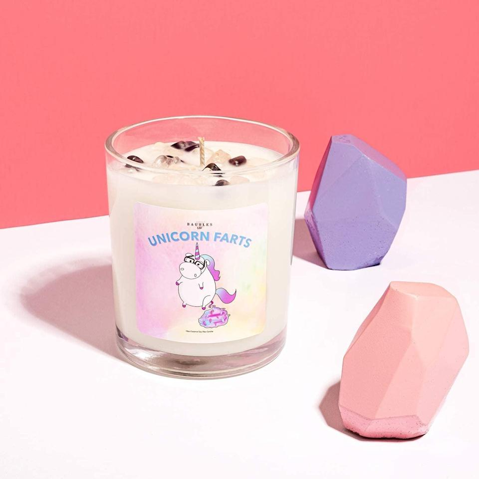<p>The <span>Kate Bissetts Unicorn Farts Candle with Crystal Shart Sprinkles</span> ($20) smells wonderful, despite the name! It has a sweet and intoxicating cotton candy scent that they'll want to burn all the time.</p>