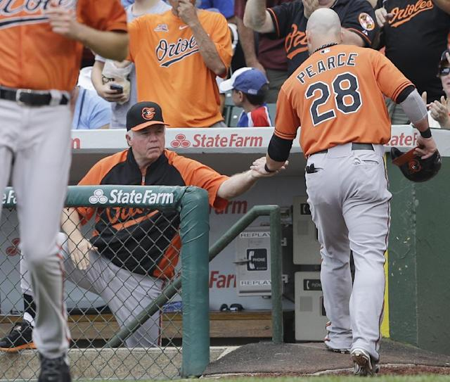 Baltimore Orioles' Steve Pearce (28) celebrates with manager Buck Showalter after scoring on a double hit by Adam Jones during the first inning of an interleague baseball game against the Chicago Cubs in Chicago, Saturday, Aug. 23, 2014. (AP Photo/Nam Y. Huh)