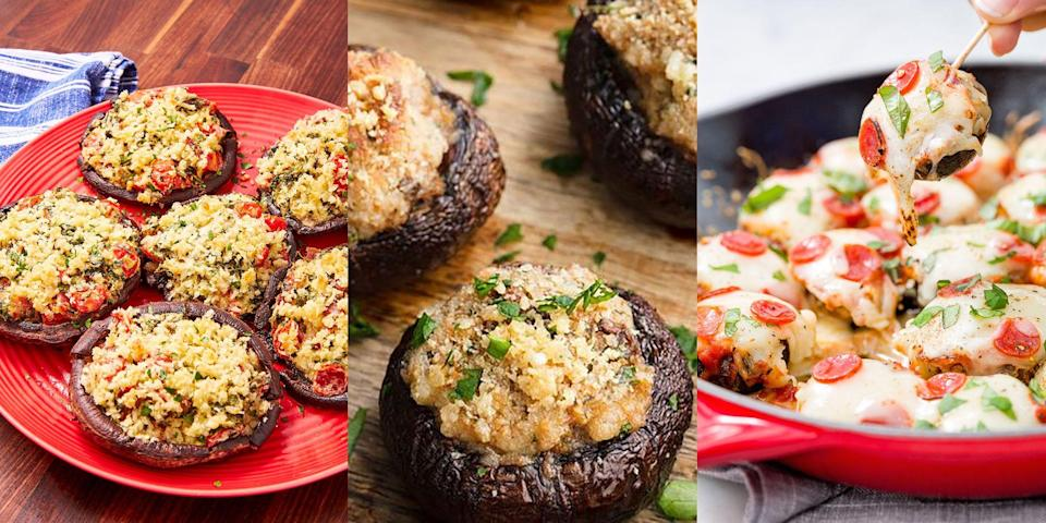 """<p><a href=""""https://www.delish.com/uk/cooking/recipes/a29707397/easy-stuffed-mushroom-recipe/"""" rel=""""nofollow noopener"""" target=""""_blank"""" data-ylk=""""slk:Stuffed mushrooms"""" class=""""link rapid-noclick-resp"""">Stuffed mushrooms</a> are a classic. They make the tastiest appetisers, easiest side dishes and most delicious main meals (we're particularly fond of a vegetarian-friendly stuffed mushroom). Not to mention, they're perfect for get-togethers! You can make everything from <a href=""""https://www.delish.com/uk/cooking/recipes/a29707397/easy-stuffed-mushroom-recipe/"""" rel=""""nofollow noopener"""" target=""""_blank"""" data-ylk=""""slk:Classic Stuffed Mushrooms"""" class=""""link rapid-noclick-resp"""">Classic Stuffed Mushrooms</a> to <a href=""""https://www.delish.com/uk/cooking/recipes/a34615509/caprese-stuffed-mushrooms-recipe/"""" rel=""""nofollow noopener"""" target=""""_blank"""" data-ylk=""""slk:Caprese-Style Mushrooms"""" class=""""link rapid-noclick-resp"""">Caprese-Style Mushrooms</a>, <a href=""""https://www.delish.com/uk/cooking/recipes/a30687166/breakfast-stuffed-portobellos-recipe/"""" rel=""""nofollow noopener"""" target=""""_blank"""" data-ylk=""""slk:Breakfast Stuffed Portobellos"""" class=""""link rapid-noclick-resp"""">Breakfast Stuffed Portobellos</a> to <a href=""""https://www.delish.com/uk/cooking/recipes/a31691842/boursin-stuffed-mushrooms-recipe/"""" rel=""""nofollow noopener"""" target=""""_blank"""" data-ylk=""""slk:Boursin-Stuffed Mushrooms"""" class=""""link rapid-noclick-resp"""">Boursin-Stuffed Mushrooms</a>. The options are endless!</p><p>If you love anything stuffed, then make sure you check out our delicious <a href=""""https://www.delish.com/uk/cooking/recipes/g36336761/stuffed-peppers/"""" rel=""""nofollow noopener"""" target=""""_blank"""" data-ylk=""""slk:Stuffed Pepper recipes"""" class=""""link rapid-noclick-resp"""">Stuffed Pepper recipes</a>, too. </p>"""