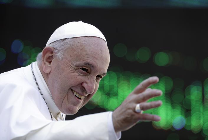 Pope Francis arrives in St. Peter's Square for an audience with members of the penitentiary police, at the Vatican, Saturday, Sept. 14, 2019. (AP Photo/Gregorio Borgia)