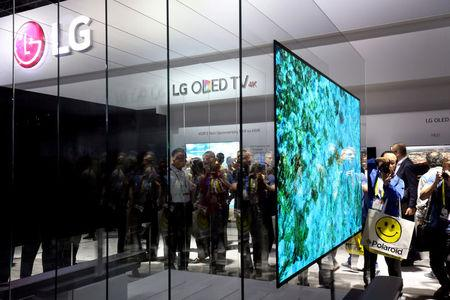 FILE PHOTO: A 77-inch LG Signature W OLED television is displayed during the 2017 CES in Las Vegas
