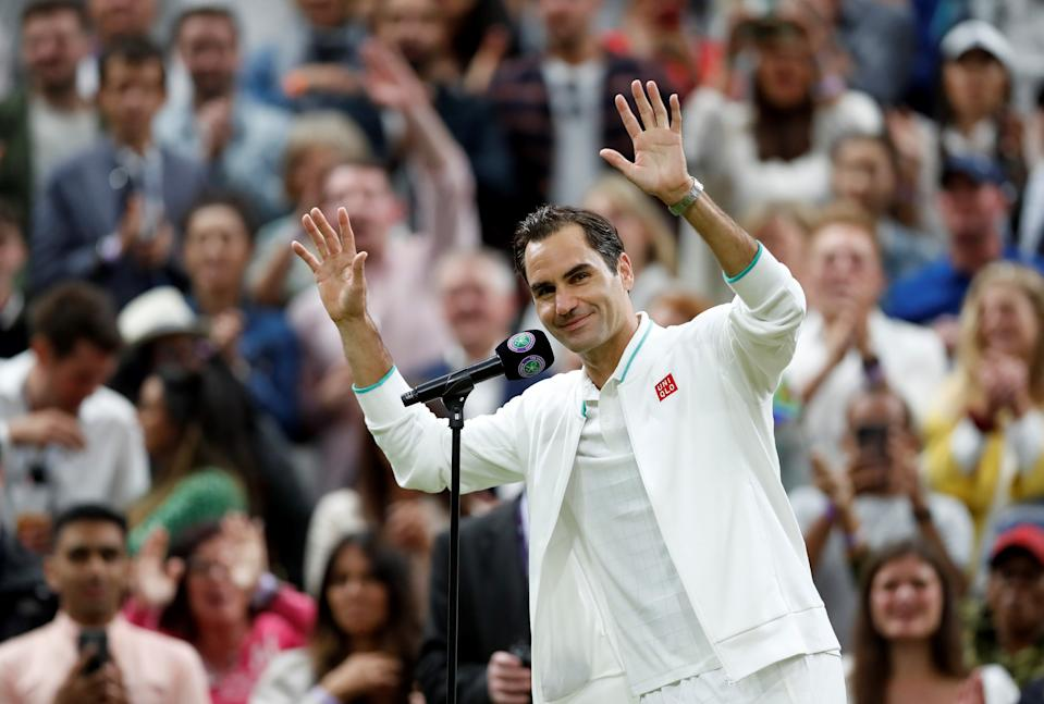 Roger Federer of Switzerland is interviewed after winning the men's singles fourth round match between Roger Federer of Switzerland and Lorenzo Sonego of Italy at Wimbledon tennis Championship in London, Britain, on July 5, 2021. (Photo by Han Yan/Xinhua via Getty Images)