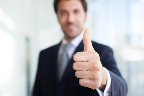 Businessman giving a thumbs-up