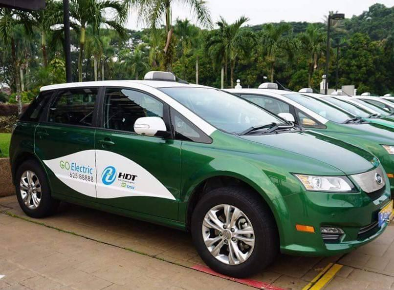 One of the electric taxis operated by HDT Singapore Taxi. (PHOTO: LTA Facebook page)