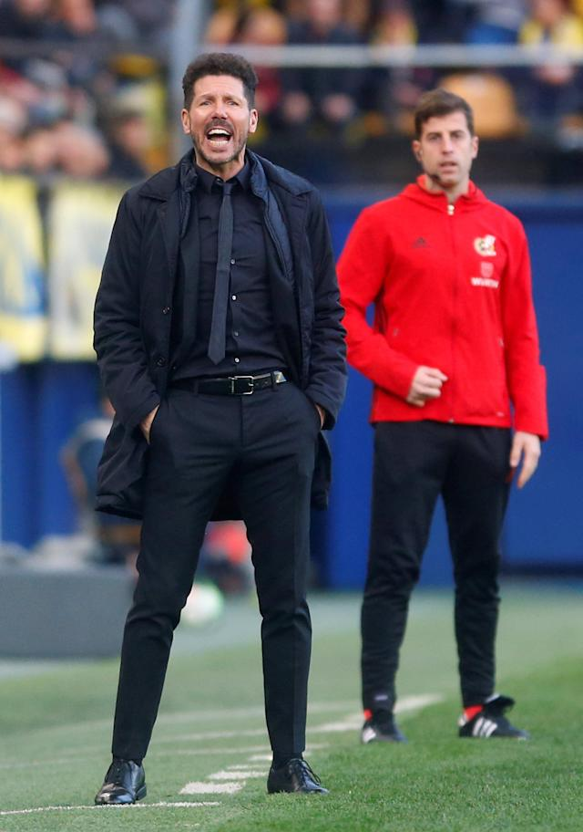Soccer Football - La Liga Santander - Villarreal vs Atletico Madrid - Estadio de la Ceramica, Villarreal, Spain - March 18, 2018 Atletico Madrid coach Diego Simeone REUTERS/Heino Kalis