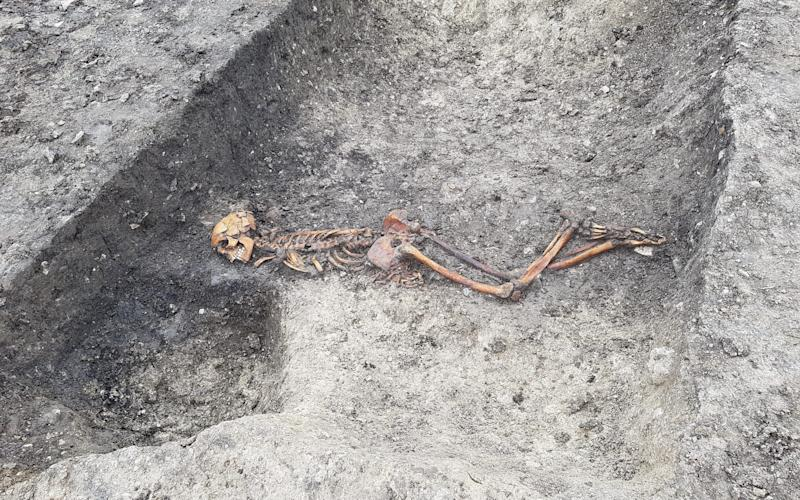 The grisly find was unearthed during the excavation work at Wellwick Farm - HS2/PA